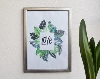 LOVE  Tropical Art Print