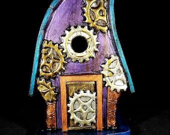 Steampunk Lodge Bird House II, birdhouse, garden art, hand made, bird houses, birdhouses
