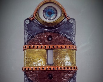Hand-made Steampunk Style Eye-bot Switch Plate Cover Sculpture