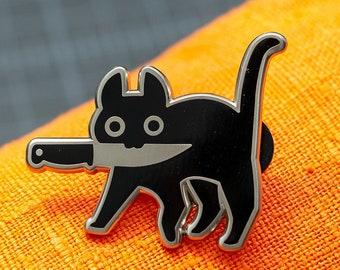 Black Knifecat Enamel Pin