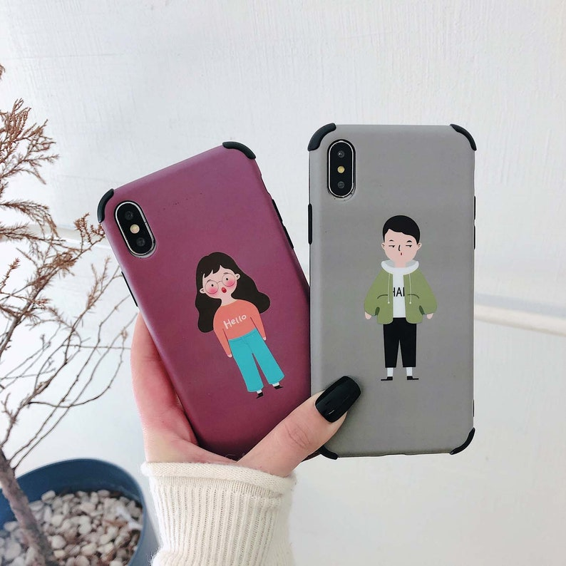 9301debac1 Cute Boy Girl Couple Phone case iPhone Xs iPhone Xs Max iPhone | Etsy