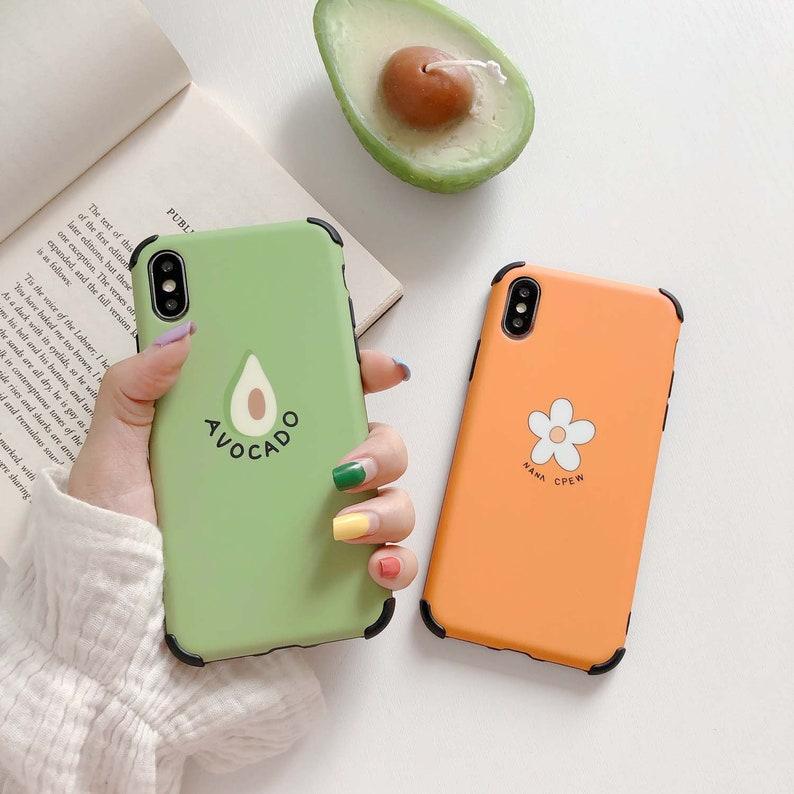 Summer iPhone XR case, Cute Avocado Flower iPhone XS Max Case iPhone X Case  iPhone 7 Plus case iPhone 8 Plus case iPhone 6 Plus case Gift