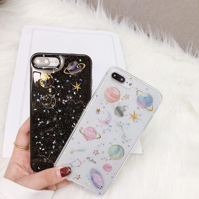 iPhone xs max Case, Samsung S10 plus Case,Clear Glitter 5 6 7 8 X XR Plus  GALAXY A7 J7 C7 Soft TPU iPhone Samsung Huawei Nova P30 pro Case