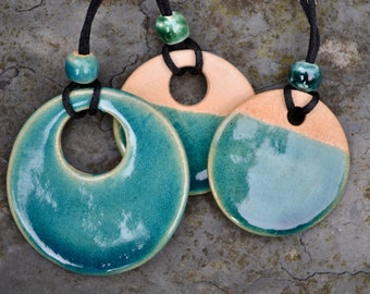 Ceramic pendants in deep blue/green glaze - reduced
