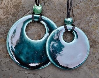 Ceramic pendants in deep inky blue glaze - reduced