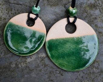 Ceramic pendants in dark bottle green glaze - reduced