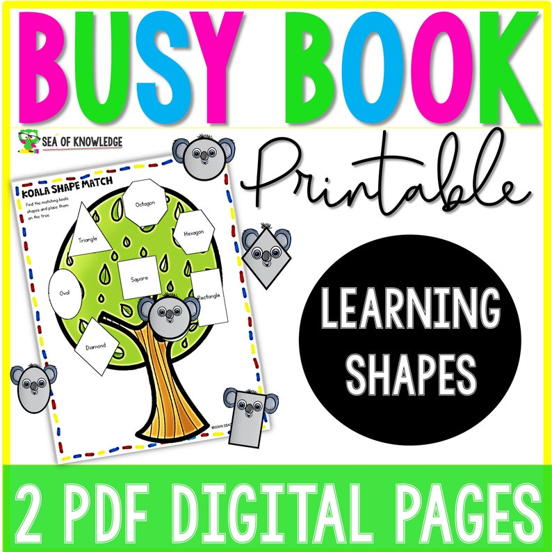 Quiet Book Printable Learning Shapes Shape Activities Busy image 0