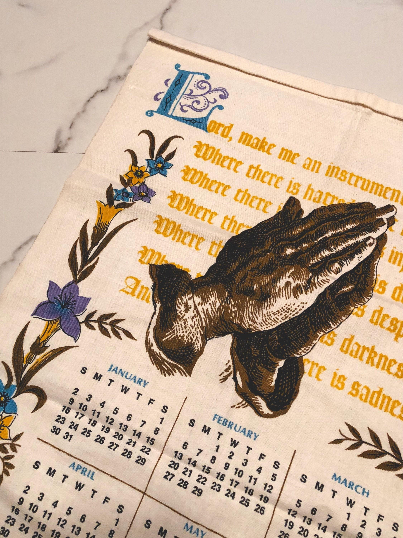 Vintage 1972 Calendar Tea Towel Religious Etsy