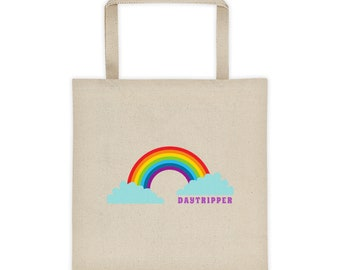 Daytripper, Hippie Hippy, Rainbow, Large Cotton Canvas Tote Bag, Square Bottom Tote, Travel Weekend Bag, Quote, Totes Magotes Totes McGotes