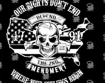 Our Rights Don't End Where Your Feelings Begin 2nd Amendment SVG digital design. With White only for vinyl, Support the Second Amendment!