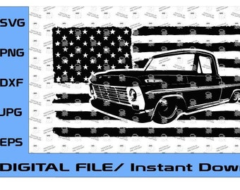 1968-1969 Ford F100 Truck US Flag Design, 1968, 1969 Truck, Ford F-100, Classic Ford Truck (Digital File Only) svg, eps, dxf, png