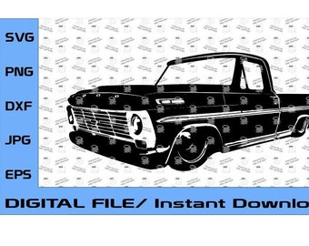 1968-1969 Ford F100 Truck Design, 1968, 1969 Truck, Ford F-100, Classic Ford Truck (Digital File Only) SVG, EPS DXF, png
