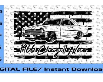 1966 Chevy Nova II Flag svg, American Flag svg, Nova SS, Nova SS svg, Nova svg, Three Designs (Digital File Only) 1966 Chevy Nova