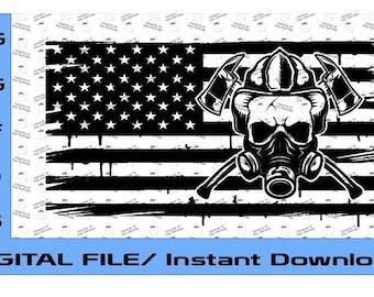 US Flag Fireman Skull SVG, Support Fireman, Patriotic American Flag, Firefighter Skull Flag