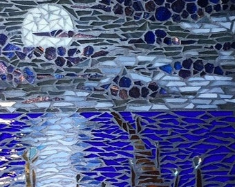 """Framed Mosaic Art """"Never-ending Pier"""" 8X10"""