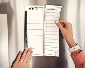 Meal Planner Weekly Notepad, Magnetic Menu, Easy Tear Off Shopping List , Grocery List - Mod Design