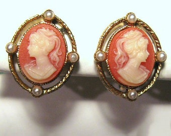 Vintage Cameo and Faux Pearl Clip Earrings