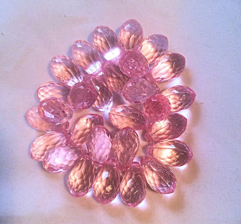 Pink Bracelet Faceted Briolette Beads Stretch Bracelet