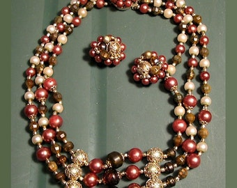 1950s Jewelry Set Vintage Demi Parure Triple Strand Bead Necklace and Earrings