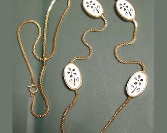 Long Floral Cutout White Enamel Necklace
