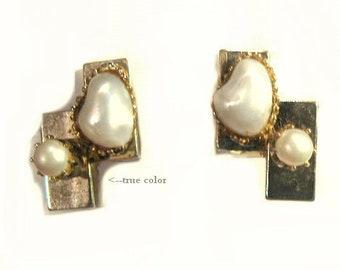 Modernist Style Faux Pearl Clip Earrings
