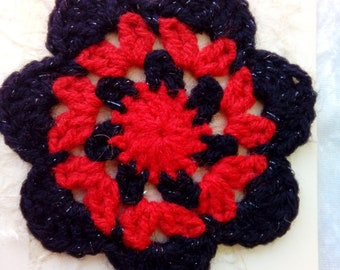 "Greetings card with Red and Black flower coaster attached.  ""With Best Wishes"" - Gifts for him - Gifts for Her - Teacher Gifts"