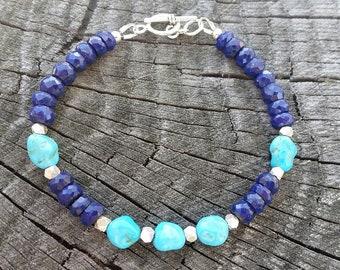 Sleeping Beauty Turquoise Bracelet, Lapis Bracelet, Blue Gemstones, December Birthstone, Rustic Jewelry, Hill Tribe Silver, Toggle Clasp