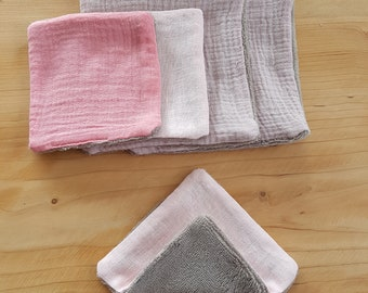Set of 5 Washcloths in double gauze and bamboo Terry