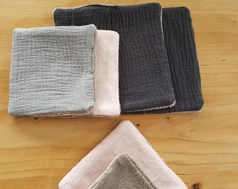 Set of 5 Washcloths in linen, double gauze and bamboo Terry