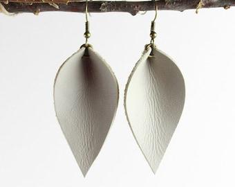 Leather Earrings / Leather Leaf Earrings / Light Gray / Inspired By Joanna Gaines Earrings / Magnolia Zia Style Leaf Earrings / Small