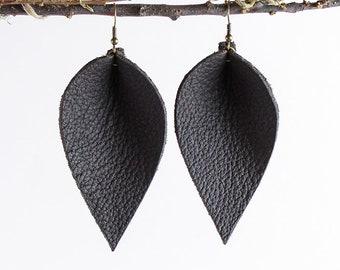 Leather Earrings / Leather Leaf Earrings / Dark Chocolate Brown / Inspired By Joanna Gaines Earrings / Magnolia Zia Style Leaf Earrings