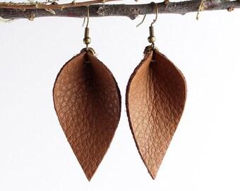Leather Earrings / Leather Leaf Earrings / Cinnamon Brown / Inspired By Joanna Gaines Earrings / Magnolia Zia Style Leaf Earrings / Small