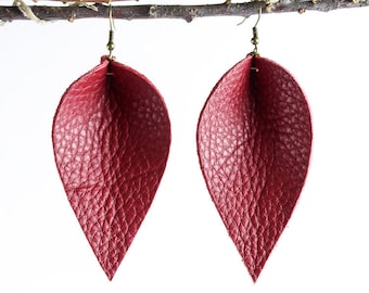 Leather Earrings / Leather Leaf Earrings / Red / Inspired By Joanna Gaines Earrings / Magnolia Zia Style Leaf Earrings / Mother's Day