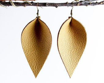 Leather Earrings / Leather Leaf Earrings / Caramel / Inspired By Joanna Gaines Earrings / Magnolia Zia Style Leaf Earrings / Mother's Day