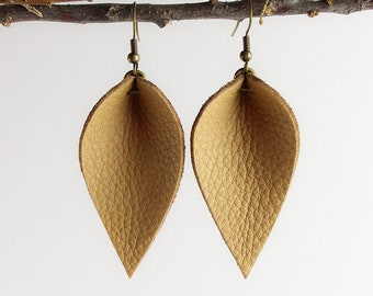 Leather Earrings / Leather Leaf Earrings / Caramel Brown / Inspired By Joanna Gaines Earrings / Magnolia Zia Style Leaf Earrings / Small