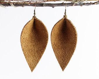 Leather Earrings / Leather Leaf Earrings / Caramel Suede / Inspired By Joanna Gaines Earrings / Magnolia Zia Style Leaf Earrings / Mom Gifts
