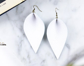 Leather Leaf Earrings / Genuine White Leather Leaf Earrings / Inspired By Joanna Gaines Earrings / Magnolia Zia Style Leaf Earrings