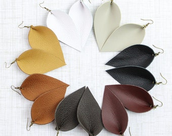 Leather Earrings / Leather Leaf Earrings / Inspired By Joanna Gaines Earrings / You Choose Color / Mother's Day Gift