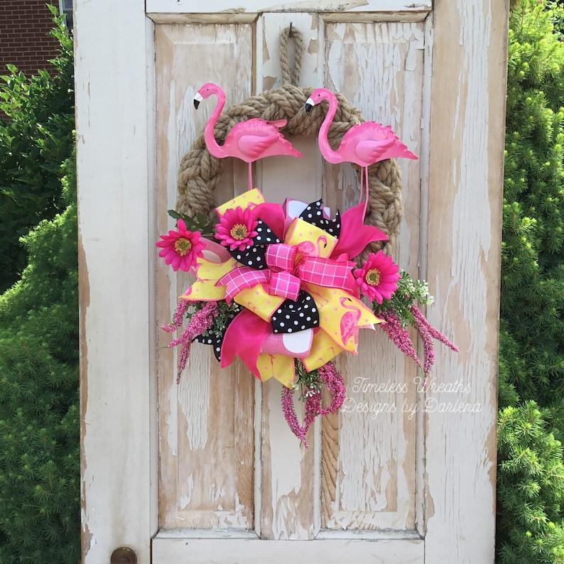 Flamingo Wreath~Flamingo Door Wreath~Pink Flamingo Wreath~Summer Flamingo Wreath~Flamingo Front Door Wreath~Tropical Wreath~Beach Wreath