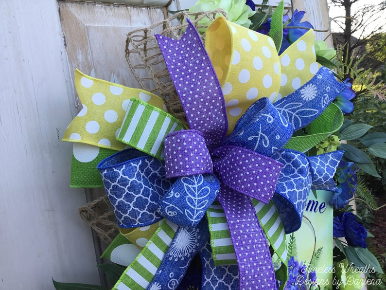 Floral Welcome Wreath~Oval Door Wreath~Everyday Welcome Wreath~Blue Purple And Green Wreath~Flower Basket Wreath~Free Shipping Wreath