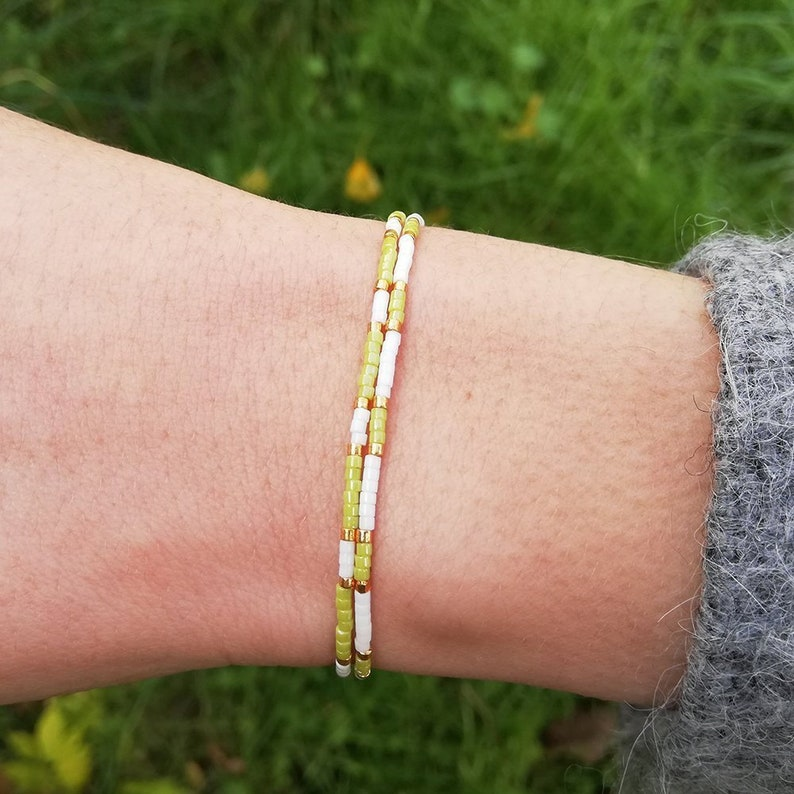 SOLDES Miyuki green gold green pearl bracelet double ethnic rank handmade jewel woman trend summer boho pompon modern
