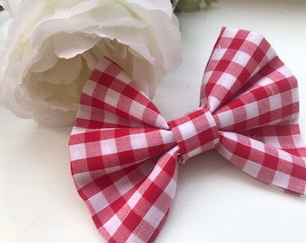 Haus_OfPaws Red Gingham Print Bow Tie