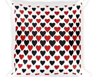 Heart Pillow, large square 18 x 18, Red Black White, design on BOTH sides, love design, soft fleece sofa couch bed