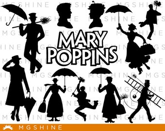 Mary Poppins SVG for Cricut, Silhouette - Mary Poppins silhouette - Mary Poppins png clipart - Mary Poppins dxf vector files - TS25
