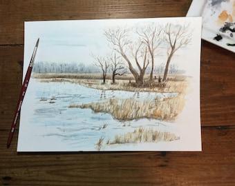 Watercolor wetlands marsh