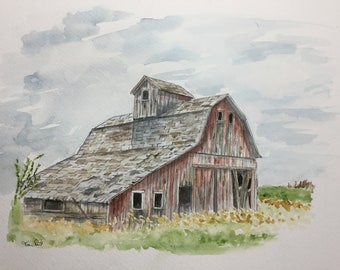 Weathered old barn watercolor
