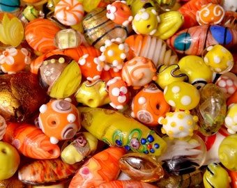 6 colours 80g assorted shapes /& sizes Indian Glass Beads