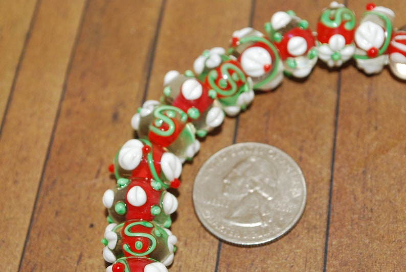 Murano Lampwork Glass Beads Christmas 15 pc set Handcrafted Fine 14mm LW195