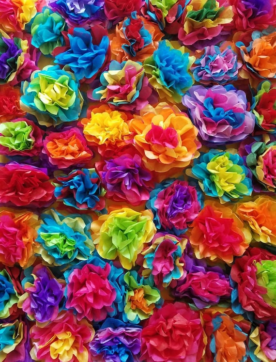 20 Fiesta Tissue Paper Flowers Mexican Tissue Paper Flowers Fiesta Baby Shower Fiesta Birthday Sugar Skull Theme Fiesta Baby Shower
