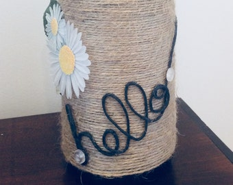 "Handmade ""hello"" Wine Bottle Centerpiece/Decoration Made From Recycled Materials"
